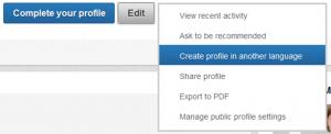 Her opretter du en LinkedIn profil på et andet sprog
