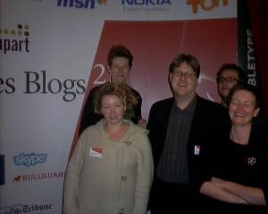 Nogle af de fremmeste i blogosfæren i 2005: trine maria kristensen, henriette Weber, Kim Elmose og Thomas Madsen Mygdal ved Les Blogs 2.0 i paris 2005